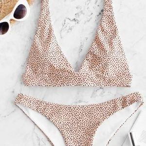 ZAFUL Polka Dot Tie Back Bikini Set - Deep Peach M